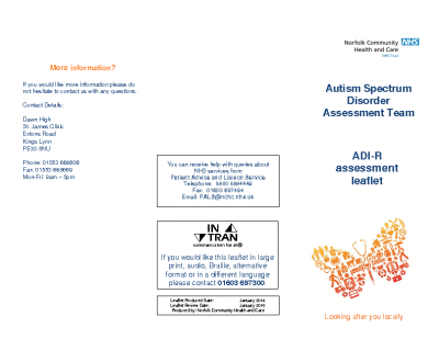 Autism Diagnostic Interview-Revised assessment Leaflet