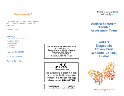 Autism Diagnostic Observation Schedule assessment leaflet