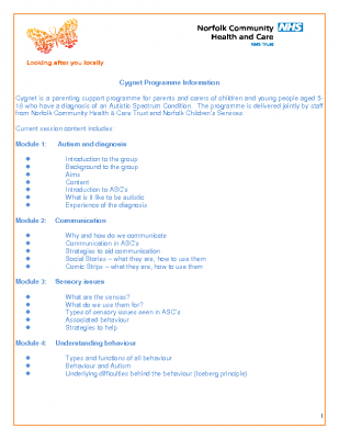 Information on the Cygnet Parent Training Programme