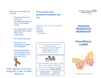 Positive Behaviour Support Parent Workshop leaflet